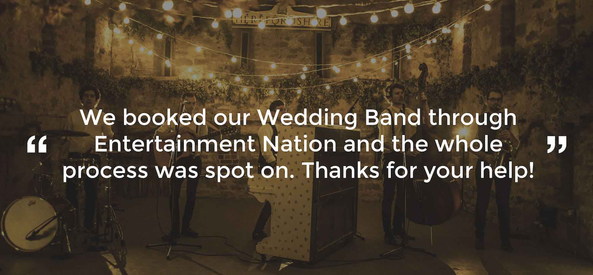 Client Review of a Wedding Band Herefordshire