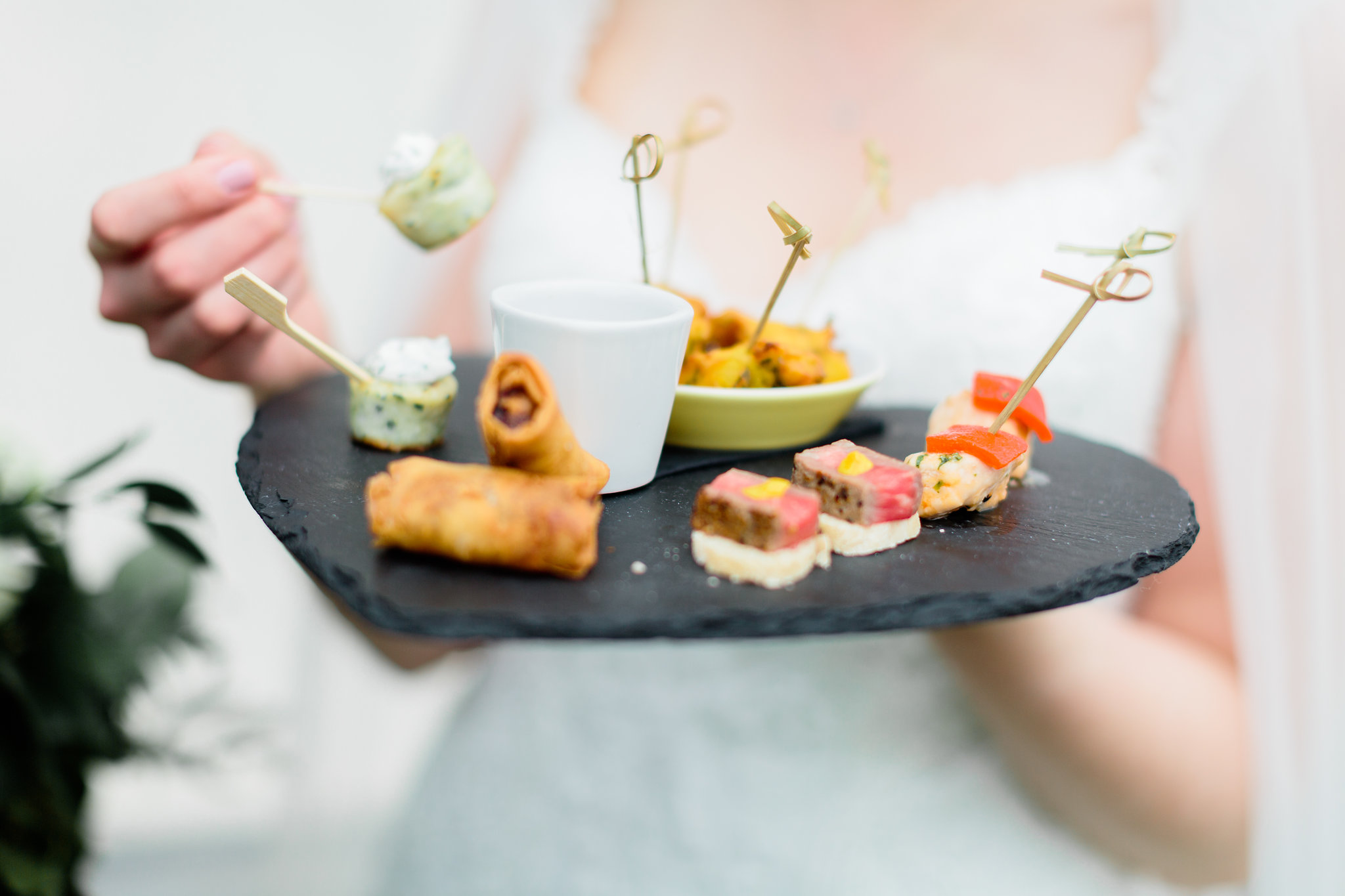 Bride with Canapes