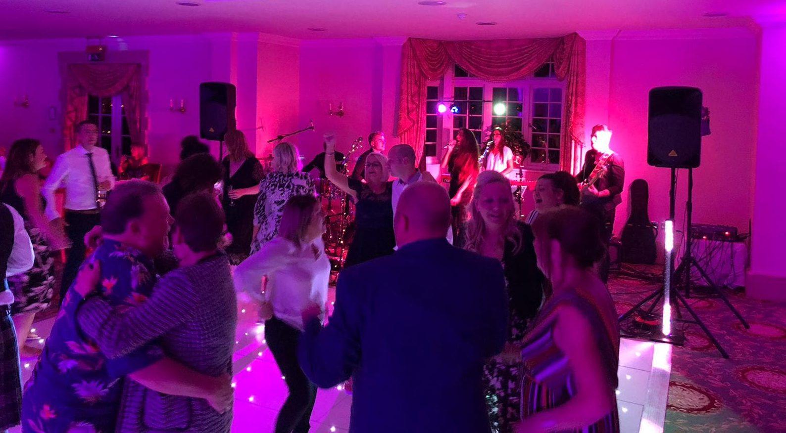Wedding dance floor with live music