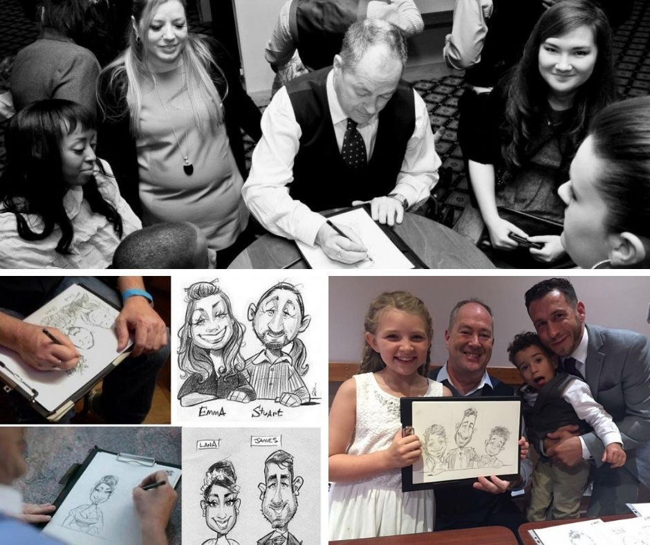 A collage of caricature drawings